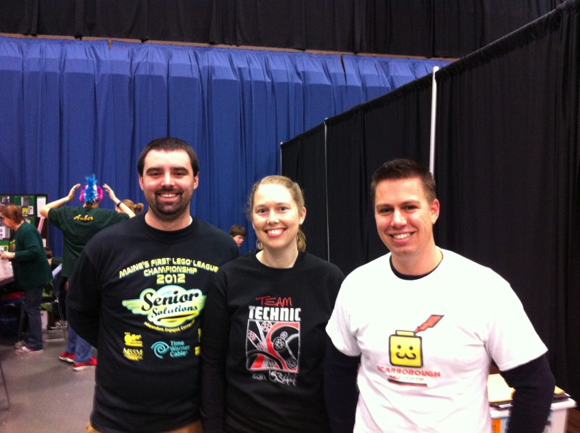 Sam Blunda, Amanda Blunda and Andy Davidson, teachers supporting First Robotics teams.